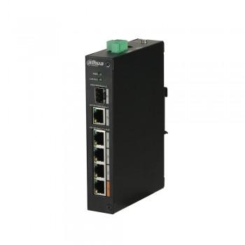 Коммутатор POE Dahua DH-PFS3106-4ET-60 48V с 4 портами POE 100Мбит + 1 порт UP-Link 1000Мбит + 1 порт SFP
