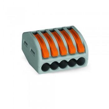 Клемма быстрого монтажа с рычагами на 5 проводов WAGO 222-415