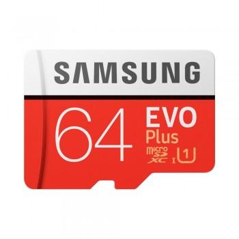 Карта памяти Samsung 64GB 10 класс microSDXC C10 UHS-I U1 R100/W20MB/s Evo Plus V2 + SD адаптер (MB-MC64HA/RU)