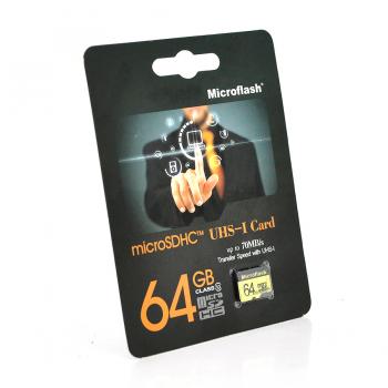 Карта памяти Microflash Micro SD, cкорость передачи данных 70MB/s, class10, 64G