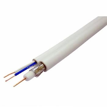 Кабель коаксиальный с питанием RITAR W100-3C2V+2x0.5mm, 0,5 мм.CU, 64x0.12m CCA желтый экран, 75 Ом, FPE, оболочка 6,91мм белый PVC, бухта 100м Q4