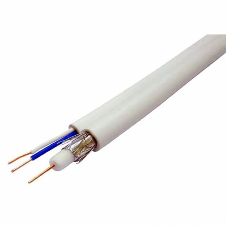 Кабель коаксиальный с питанием RITAR W100-3C2V+2x0.5mm, 0,5 мм.CU, 64x0.12m CCA желтый экран, 75 Ом, FPE, оболочка 6,91мм белый PVC, бухта 100м
