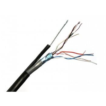 Кабель витая пара FTP (4*2*0.5), (CCA), изоляция ПВХ, экран для нар. работ с тросом, 305м, Black