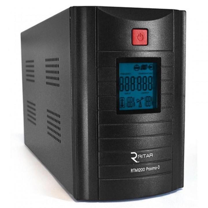 ИБП Ritar RTM1200 (720W) Proxima-D, LCD, AVR, 3st, 3xSCHUKO socket, 2x12V7.5Ah,