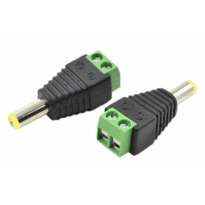 Разъем для подключения питания DC-M (D 5,5x2,1мм) с клеммами под кабель (Yellow Plug) (папа)