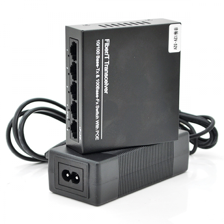 Коммутатор POE 48V с 4 портами POE+1 порт UP-Link 100Мбит