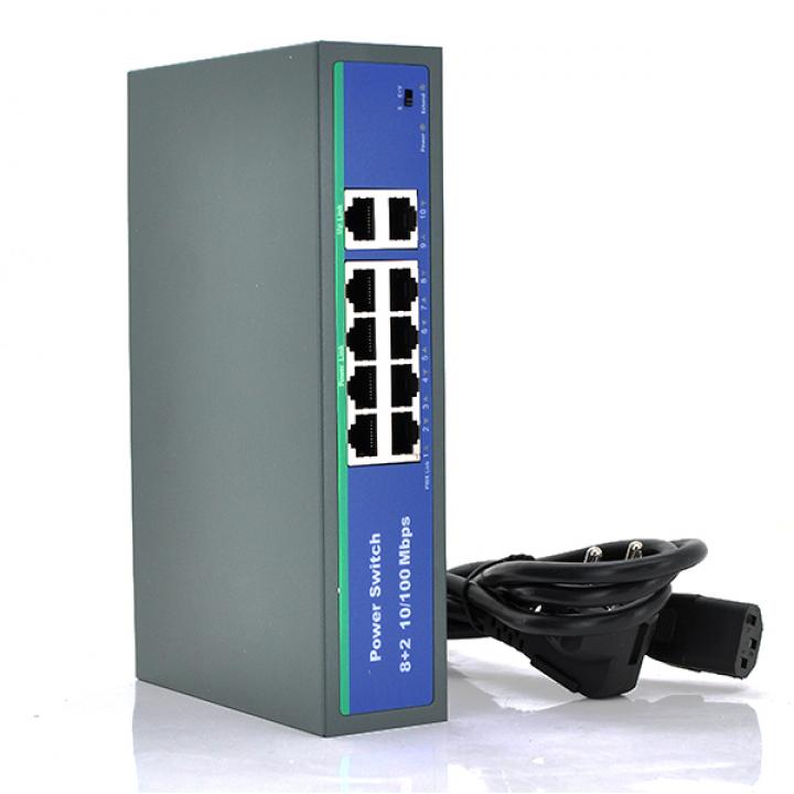 Коммутатор POE 48V с 8 портами POE + 2 порта Ethernet (UP-Link) 100Мбит , c усилением сигнала до 250метров