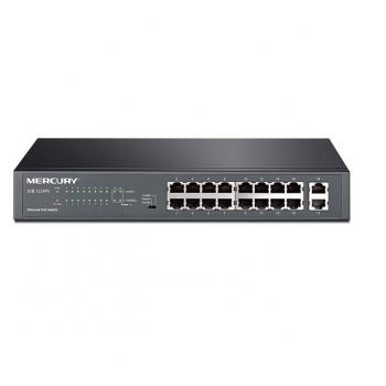 Коммутатор POE Mercury S118PS 16 портов POE 100Мбит + 2 порт Ethernet (UP-Link) 1000Мбит