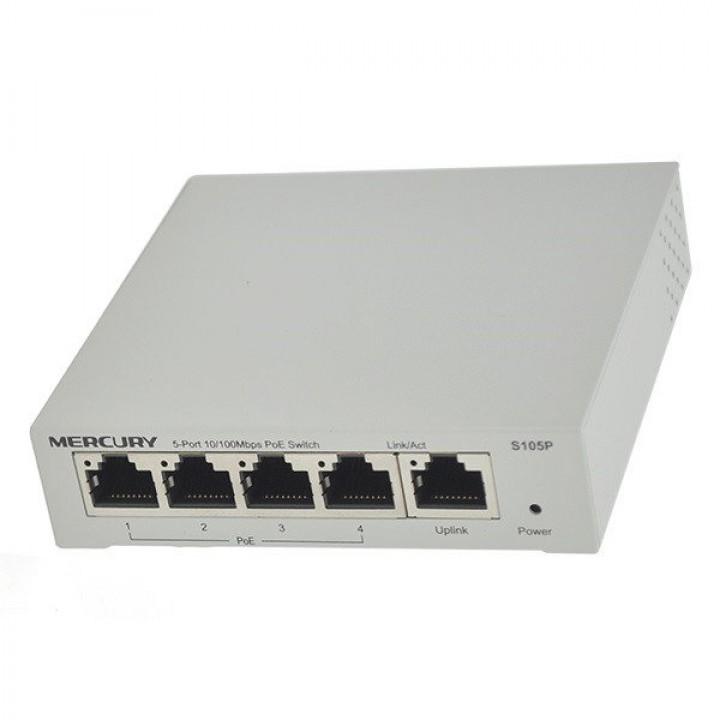 Коммутатор POE 48V Mercury S105P 4 портов POE + 1 порт Ethernet (Uplink ) 10/100 Мбит/сек
