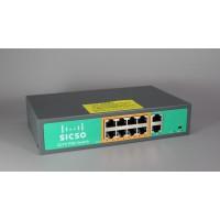 Коммутатор POE SICSO 48V с 8 портами POE 100Мбит + 2 порт Ethernet(UP-Link) 100Мбит