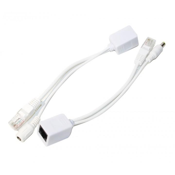 POE инжектор пассивный (пара) 802.3at (30Вт) с портами Ethernet 10/100Mbps, white, OEM Q50